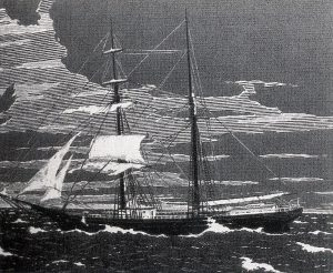 An engraving of the Mary Celeste as she was found abandoned.