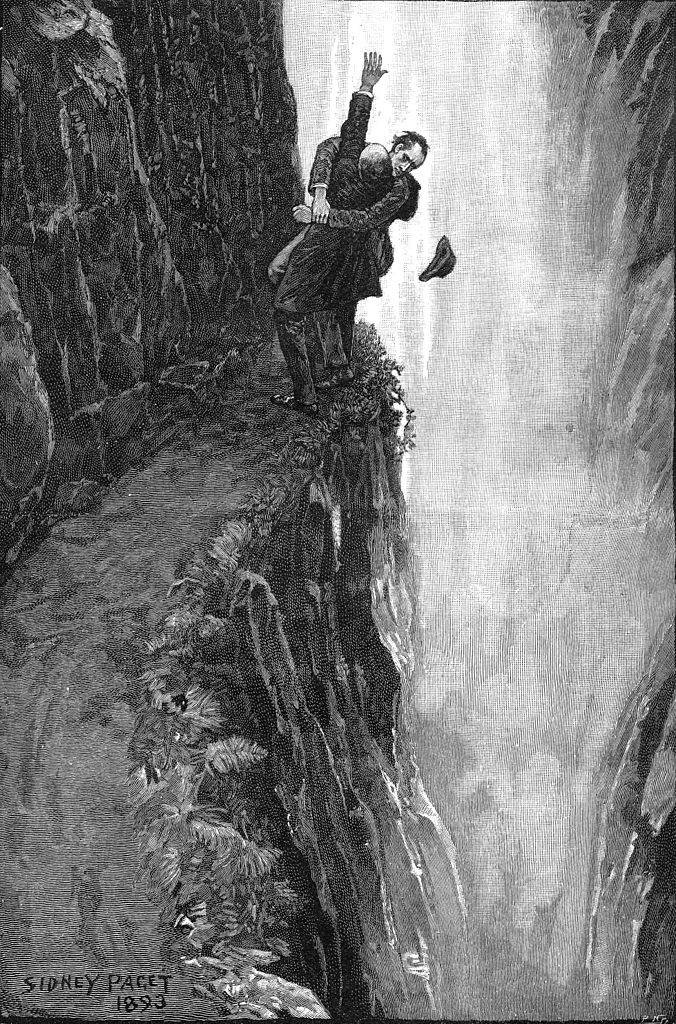 Holmes and Moriarty fighting over the Reichenbach Falls. Art by Sidney Paget.