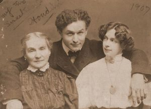"""My Two Sweethearts""—Houdini with his mother and wife around 1907"